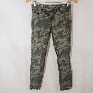 Zara Camouflage Distressed Jeans